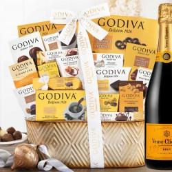 Veuve Clicquot Champagne and Godiva Chocolates Basket