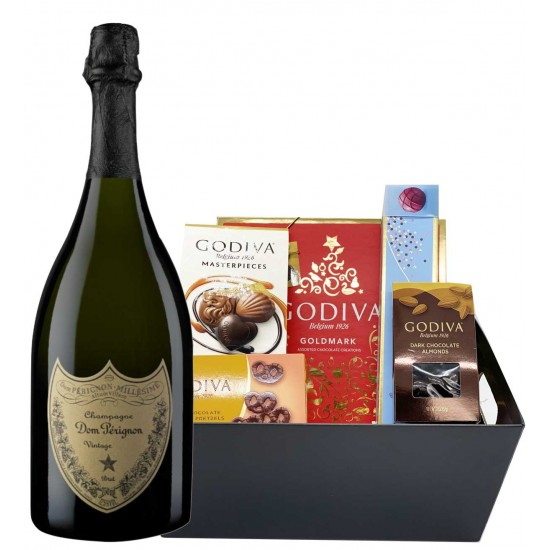 Dom Perignon & Assorted Godiva Chocolates Gift Basket