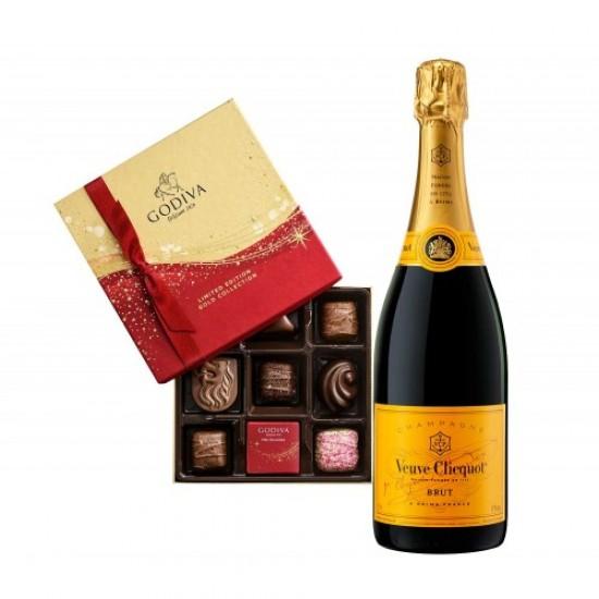 Veuve Clicquot Brut with Godiva 9 Pc Chocolates  Box