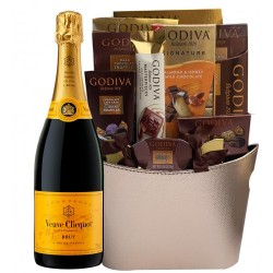 Veuve Clicquot and Assorted Godiva Chocolates Basket