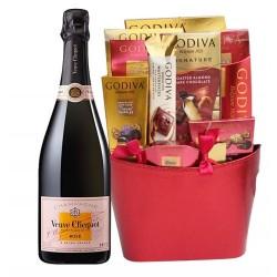Veuve Clicquot Rose & Assorted Godiva Chocolates Gift Basket