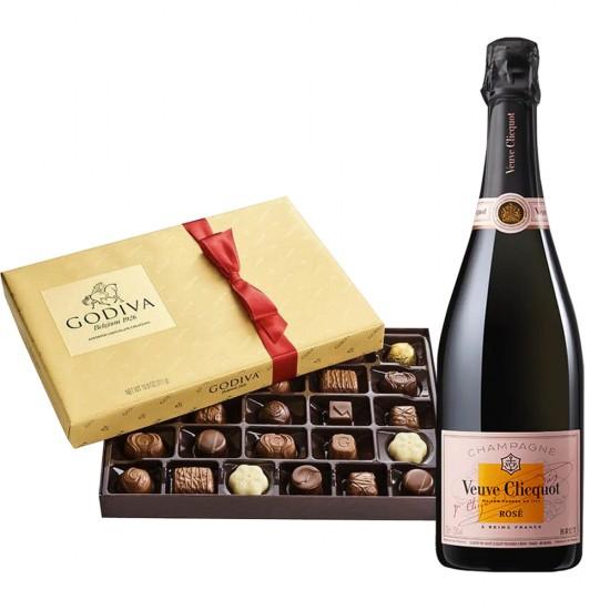 Veuve Clicquot Rose & Godiva Chocolates Gift Set